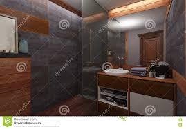 badezimmer in der dunklen farbe und im holz stockbild bild