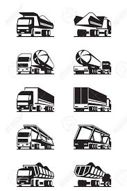 100 Different Trucks With Trailers Vector Illustration Royalty Free