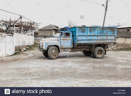 Old Blue Garbage Truck. Central Georgia, Eurasia Stock Photo ...
