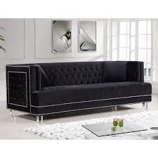 Tufted Velvet Sofa Bed by Meridian Furniture 609bl S Lucas Black Tufted Velvet Sofa W