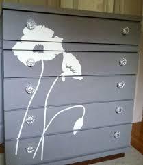 bureau eco chalk painted dresser with flower silhouette vintage bureau chest