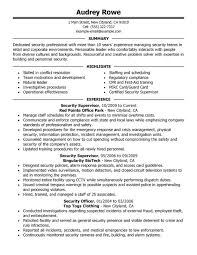 Security Management Resume Example Template Pdf