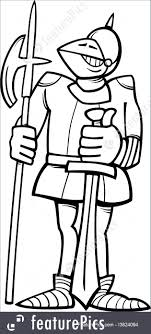 Knight In Armor Cartoon Coloring Page Royalty Free Stock Illustration