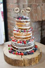 Rustic Wedding Cakes With Berry Decoration
