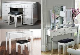 FoxHunter Mirrored Furniture Glass Dressing Table With Drawer