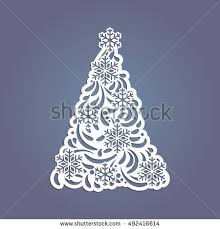 Christmas Tree Cut Out Paper Template Vector De Stock492416614
