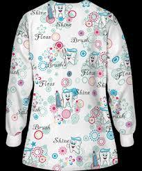 Ceil Blue Print Scrub Jackets by Ua Big Smiles Fresh Mint Print Scrub Jacket Dental Print Scrubs