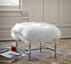 Bathroom Faux Fur Vanity Stool Tavi Mongolian