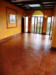 terracotta restaurant floor after being cleaned and sealed by the