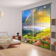Domestications Curtains And Blinds by 3d Beautiful Rainbow Printed Thick Polyester 2 Panels Custom