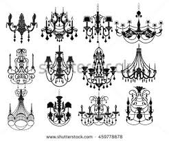 Classic Chandelier Set Collection Luxury Decor Accessory Design Vector Illustration Sketch