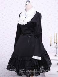 cheap black cotton lace trim long sleeves bow gothic dress