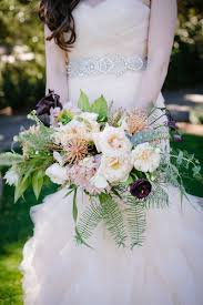 Loosely Structured Bridal Bouquet With Fern Eucalyptus Dark Plum Blush Ivory Five Flower
