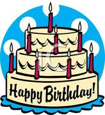 A Three Tiered Birthday Cake with Red Candles Clipart Image