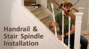 How To Install Handrail And Stair Spindles (Stair Renovation Ep 4 ... Diy How To Stain And Paint An Oak Banister Spindles Newel Remodelaholic Curved Staircase Remodel With New Handrail Stair Renovation Using Existing Post Replacing Wooden Balusters Wrought Iron Stairs How Replace Stair Spindles Easily Amusinghowto Model Replace Onwesome Images Best 25 For Stairs Ideas On Pinterest Iron Balusters Double Basket Baluster To On Tda Decorating And For