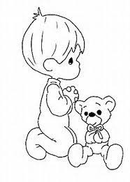 Precious Moments Little Boy Praying Coloring Page Sketch