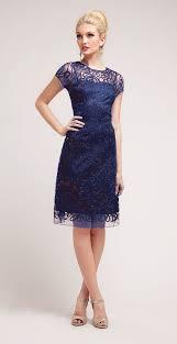 semi formal knee length lace navy blue dress short sleeve navy