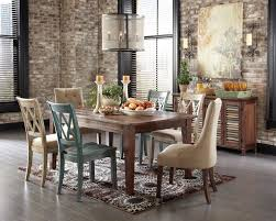 Dining Room Rustic Table With Bench Two Toned Round Mahogany Wood Rectangle Brown Finish Country Ideas