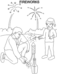 Fireworks Coloring Pages For Kids