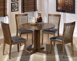 Wood Round Dining Set With Drop Leaf Extension Table