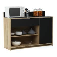 desserte de cuisine bois meuble desserte en bois 1 porte 1 tiroir 2 niches l123 x h85 cm mike