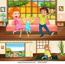 Family Inside House Stock Vector Royalty Free 502013857