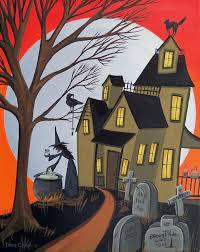 Lori Mitchell Halloween Sale by Original Painting Folk Art Whimsical Halloween Black Cat Moon