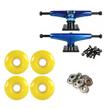 100 Skateboard Truck Sizes S Light BlueBlack 51mm Yellow Abec 9 Bearings Combo