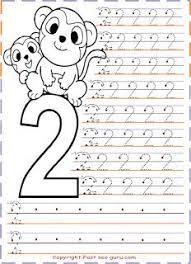 Free Printables Numbers Tracing Worksheets 2 For Kindergartentracing Kidspreschool Coloring Pages