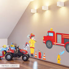 Firetruck Wall Decal | Children's Wall Sticker | Wallums Cars Wall Decals Best Vinyl Decal Monster Truck Garage Decor Cstruction For Boys Fire Truck Wall Decal Department Art Custom Sticker Dump Xxl Nursery Kids Rooms Boy Room Fire Xl Trucks Stickers Elitflat Plane Car Etsy Murals Theme Ideas Racing Art