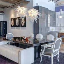Dining Room Table Chandelier Elegant Drum Shade Lamp White Leather Chairs Contemporary Brass Dark Brown