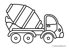 Cement Mixer Truck Coloring Pages For Kids Transportation