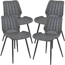 4x stühle dunkelgrau lehnstuhl esszimmer stuhl polsterstuhl lounge set
