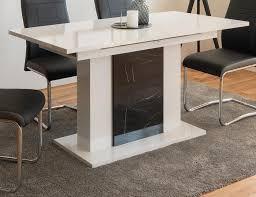 esstisch brügge in weiß hochglanz und marmor optik küchentisch ausziehbar mit einlegeplatte 140 180 x 80 cm