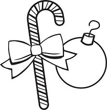 Coloring Page Of A Candy Cane And Ornament