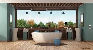 foto auf lager grünes luxusbadezimmer mit runder badewanne