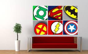 100 Pop Art Bedroom Superhero Logos Badges Wall Sticker Boys Decal Graphic