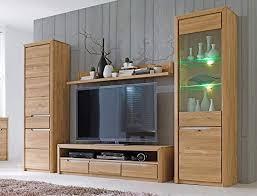 wohnwand pisa 30 eiche bianco massiv 4 teilig medienwand tv
