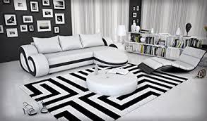eck sofa mit led beleuchtung und kunstleder bezug weiß