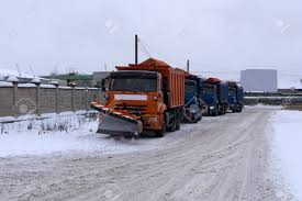 100 Trucks In Snow A Column Of Five Remover On The Road Winter During