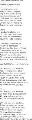 Old Time Song Lyrics for 15 Write Me A Letter From Home