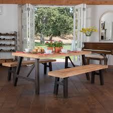 Dining Room Amazing Table Bench Rectangle Shape Solid Wood Material Natural Oak Top