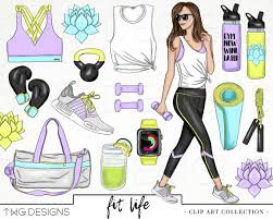 Fitness Fashion Girl Clip Art Watercolor Clipart PNG Workout Gym Style Hand Drawn Babe Illustration Planner Sticker Graphics Basic License
