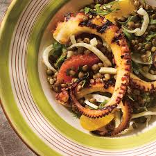 fenouil cuisiner salade de pieuvre aux lentilles au fenouil et aux agrumes ricardo
