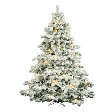 65 Foot Flocked Alaskan Artificial Christmas Tree 600 DuraLit Clear Mini And G50 Lights