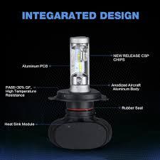 osl h4 hi lo beam led car headlight bulbs 50w 6500k 8000lm auto