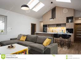 100 Contemporary House Furniture Livingroom Connected With Kitchen Stock Image