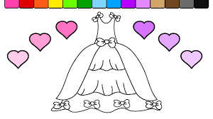 Learn To Color For Kids And This Pretty Princess Dress Coloring Page