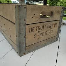 DETROIT CRY CO Heavy Wood Metal Milk Crate