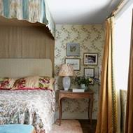 Country Bedroom With Floral Wallpaper